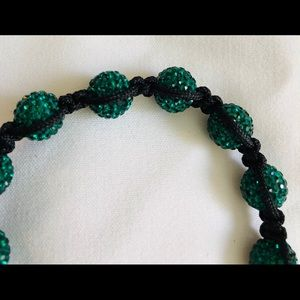 Green crystal ball adjustable size bracelet